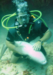 Randy with a shark - Belize 2006